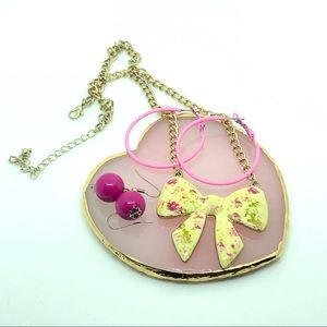 Kawaii Koi Barbie Necklace Bow pink hoops
